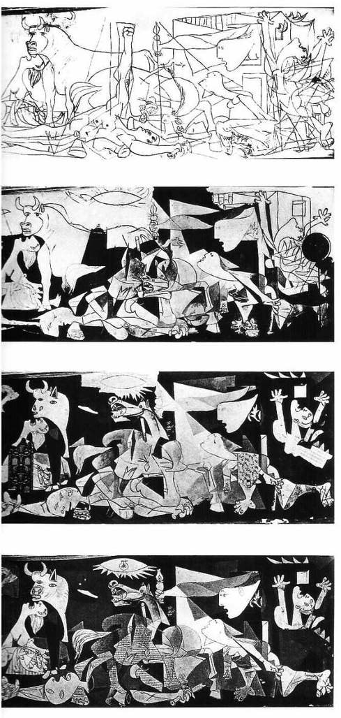 the interpretations of guernica Guernica is a mural-sized oil painting on canvas by spanish artist pablo picasso completed in june 1937 the painting, which uses a palette of gray, black, and white, is regarded by many art critics as one of the most moving and powerful anti-war paintings in history.